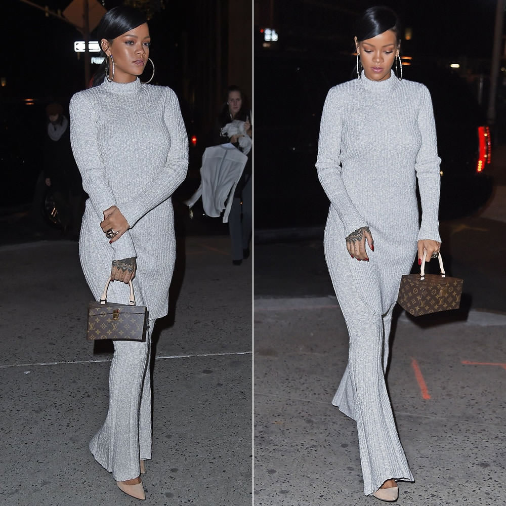 Rihanna wearing Celine Fall/Winter 2014 ribbed sweater with slit side and ribbed flared pants, Manolo Blahnik BB suede pumps, Louis Vuitton Twisted Box bag