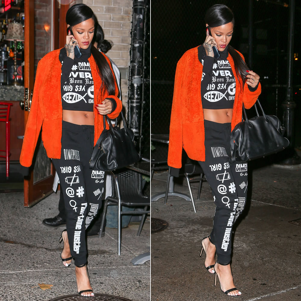 Rihanna wearing 3.1 Phillip Lim orange shearling bomber jacket, Dimepiece LA's Verbage crop turtleneck and sweatpants, Manolo Blahnik Chaos sandals