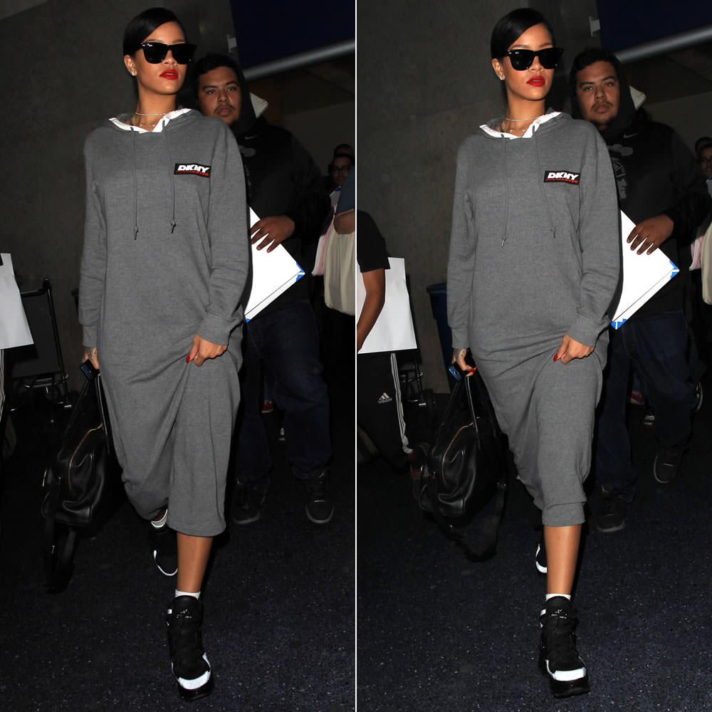 Rihanna wearing Ray-Ban Wayfarer sunglasses, DKNY for Opening Ceremony athletic hooded grey dress, Marc by Marc Jacobs Ninja black and white sneakers, Balmain Pierre handbag