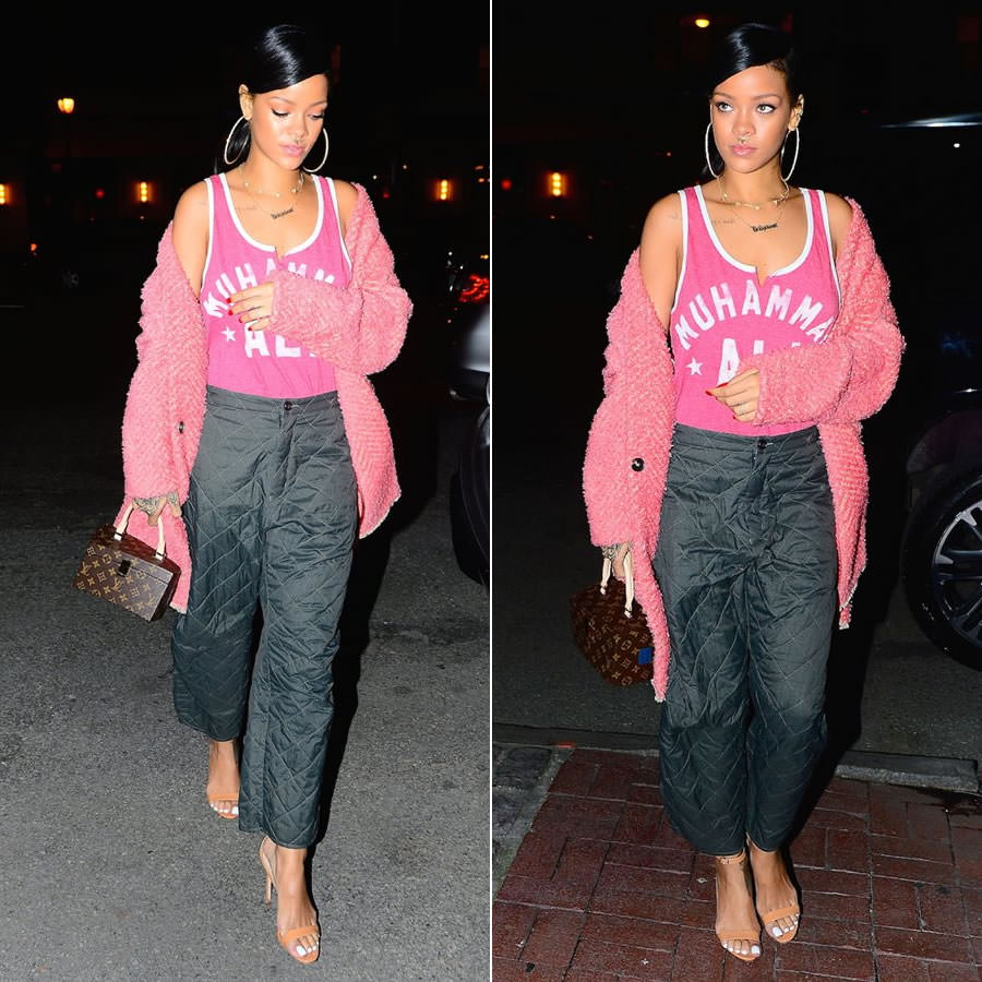 Rihanna wearing Isabel Marant Gabriel pink chevron wool coat, Manolo Blahnik Chaos ankle-strap sandals, Louis Vuitton Twisted Box bag, Meadowlark septum ring, Jacquie Aiche diamond cluster necklace, Mala by Patty Rodriguez Where you from? necklace