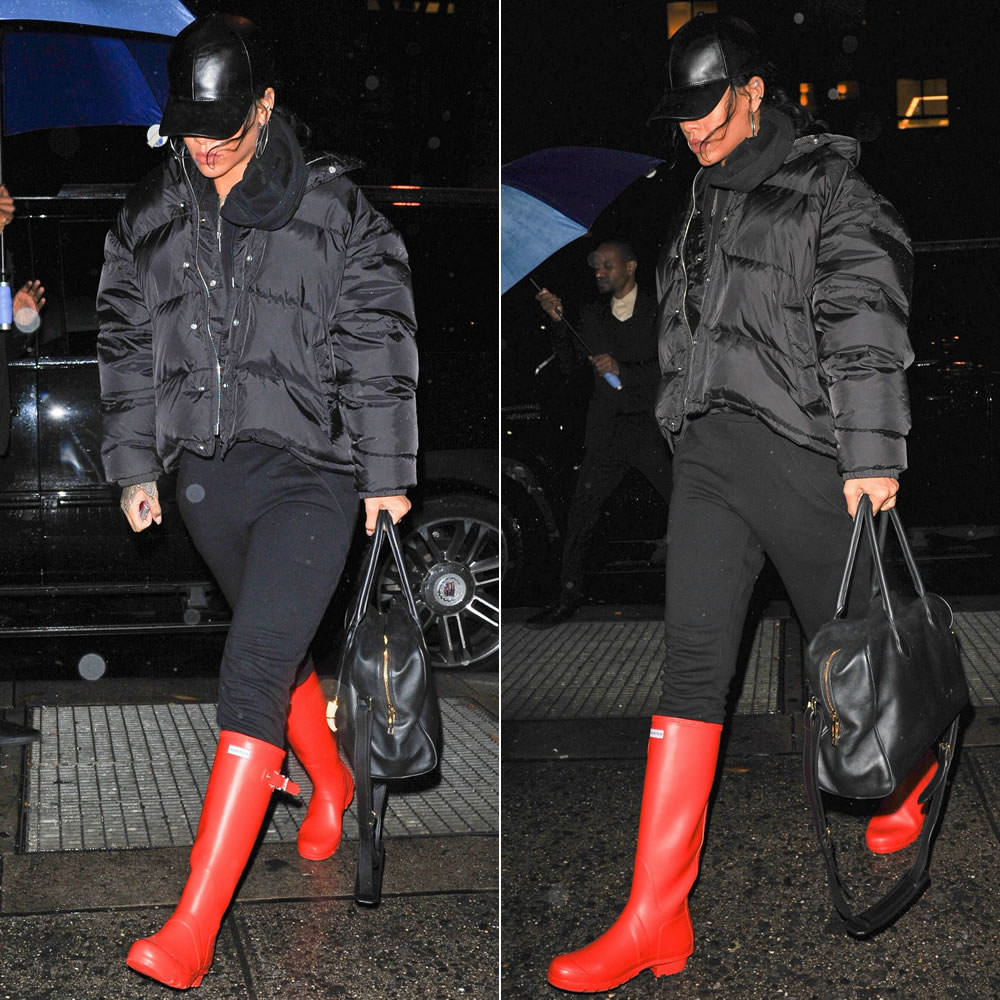 Rihanna wearing Vianel leather cap, Maison Martin Margiela puffer jacket, Hunter Original Tour red boots