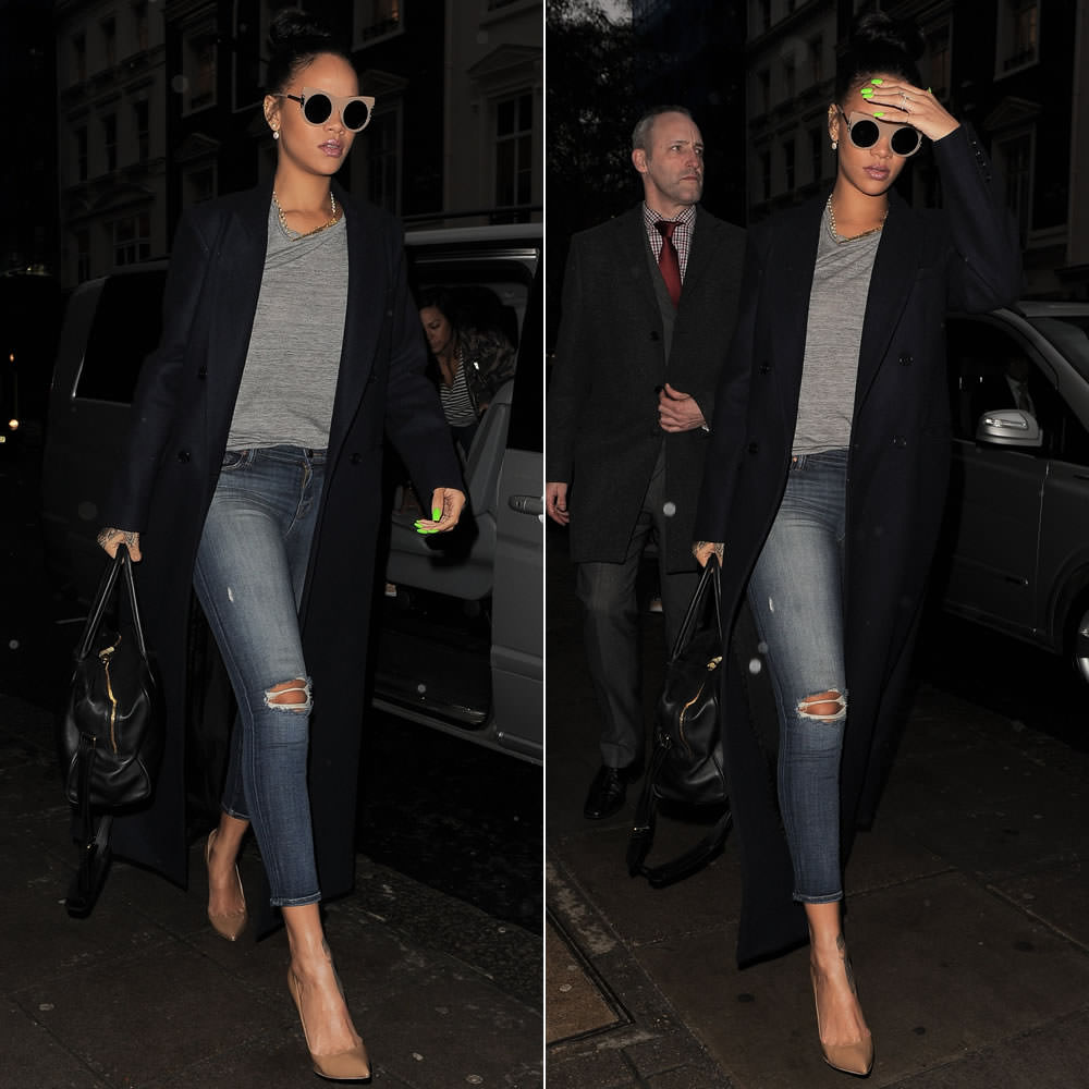 Rihanna wearing Stella McCartney cat eye sunglasses, Reformation Orson coat, J Brand 835 cropped skinny jeans, Christian Louboutin pumps, Annoushka earrings
