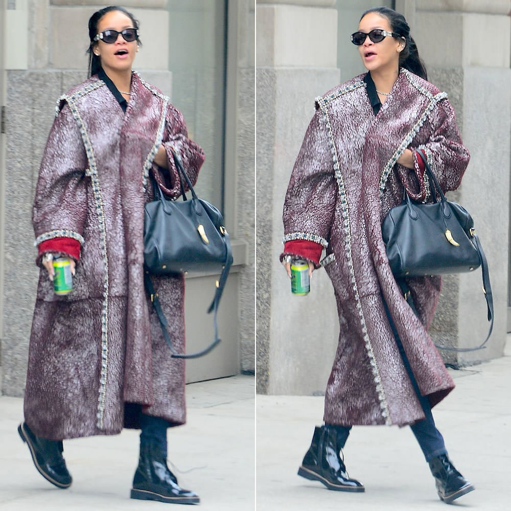 Rihanna wearing Jean Paul Gaultier vintage sunglasses, Balmain Pierre tote handbag, Maison Martin Margiela burnished lace-up ankle boots