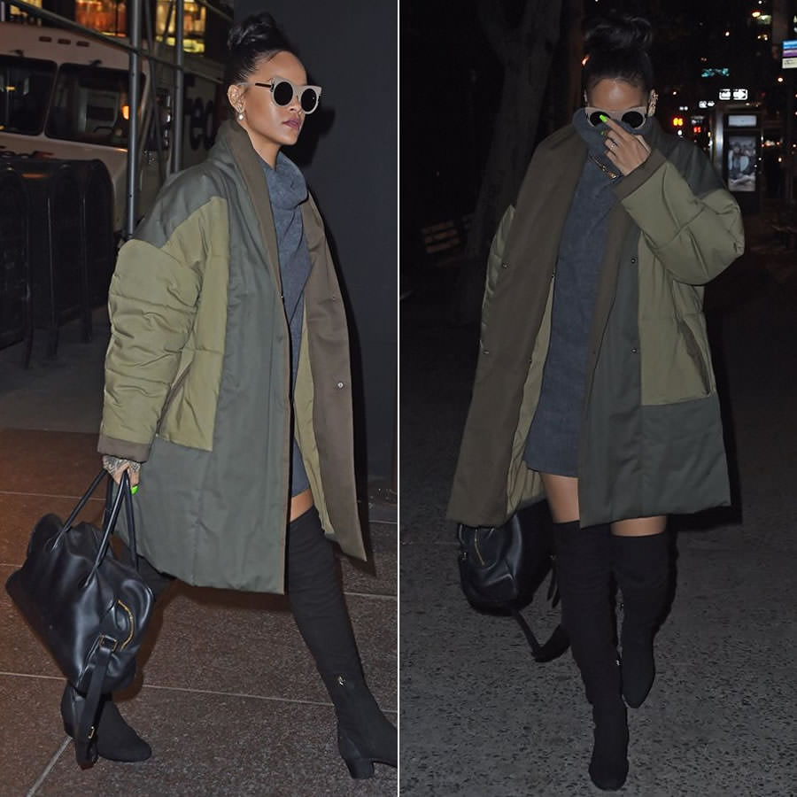 Rihanna wearing Reformation Hazel turtleneck dress, Isabel Marant Etoile Flor quilted coat, Stella McCartney flat cat eye sunglasses, Chanel thigh high suede boots