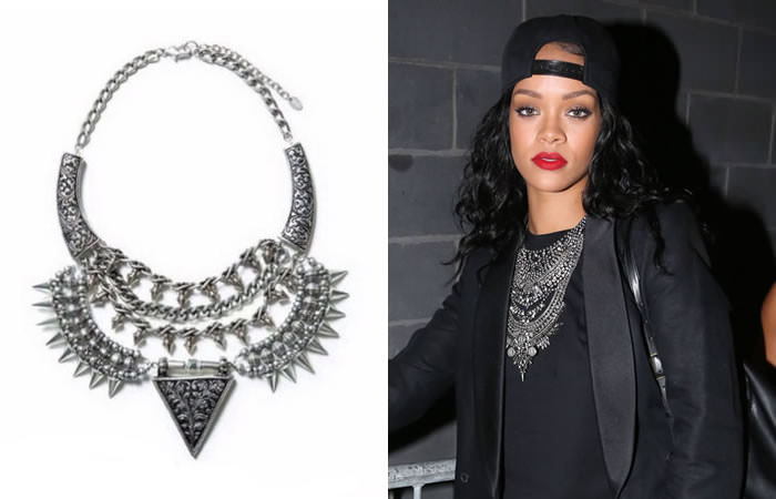 Koree's Closet silver shield necklace with spikes