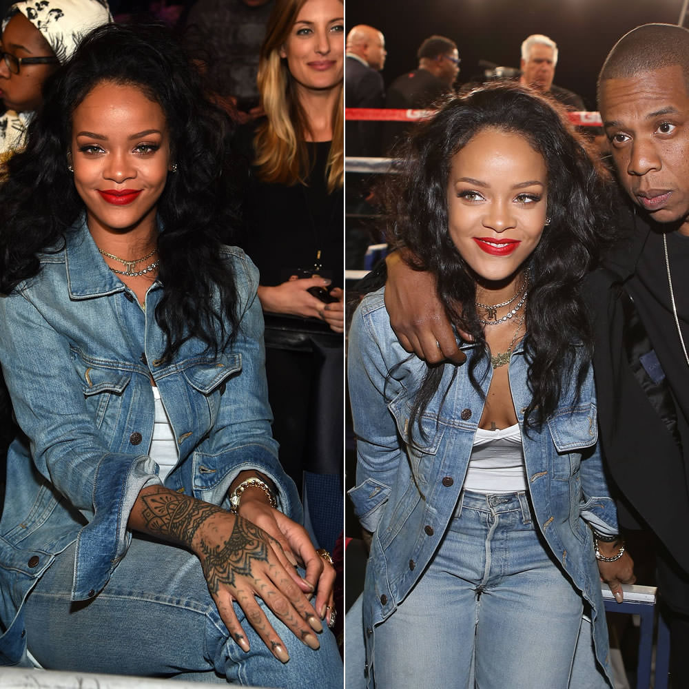 Rihanna wearing 6397 cowboy denim coat, Bijules snake nail ring, Vivienne Westwood Rococo leather watch
