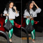 Rihanna wearing Celine Resort 2015 grey cropped sweater, Isabel Marant Etoile Patsy green striped pants, Tom Ford white ankle strap sandals, Givenchy pyramid pouch handbag, Jacquie Aiche rings, cuffs and necklaces