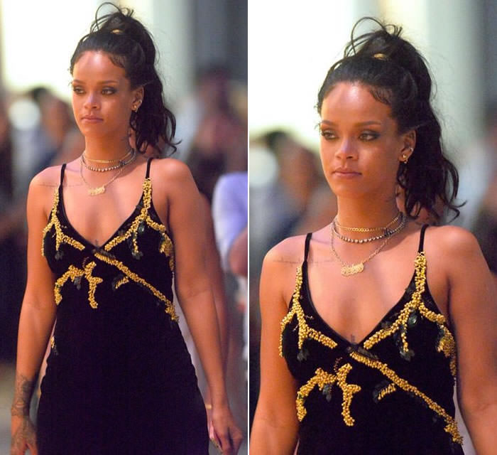 Rihanna in Meadham Kirchhoff embellished black velvet slip dress