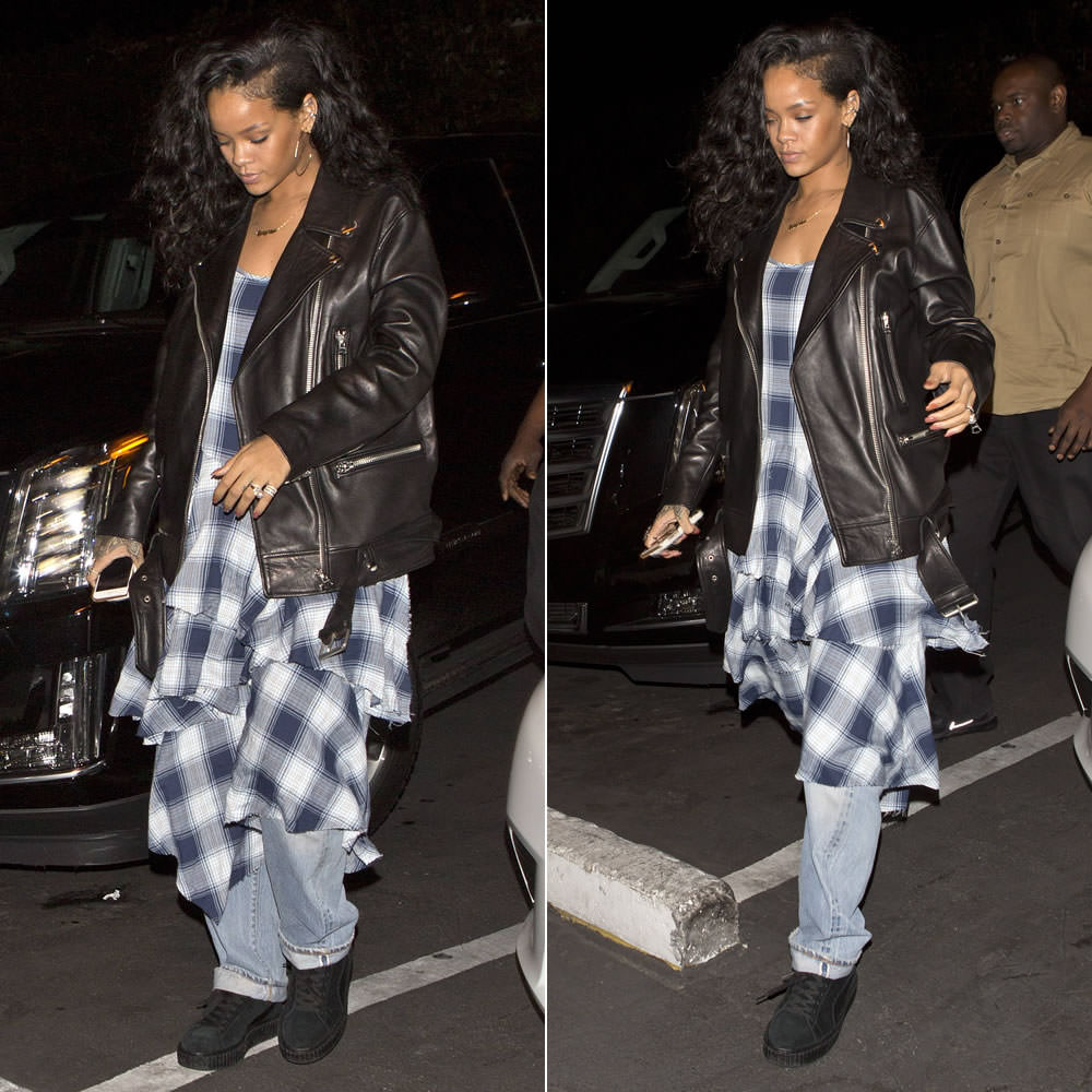Rihanna wearing Jacquie Aiche 10 diamond hoop earrings, Acne Studios More oversized leather jacket, Mr Completely custom Puma Suede Classic black creepers