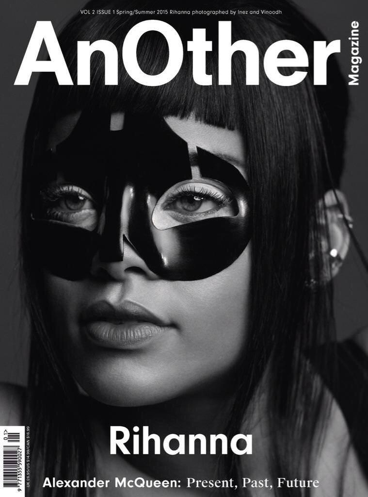 Rihanna on the cover of AnOther magazine wearing Alexander McQueen mask