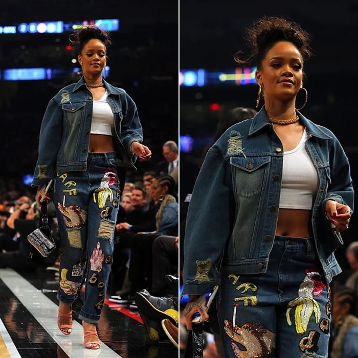Rihanna wearing Ashish I Miss You sequinned denim jacket and sequinned boyfriend jeans, Lynn Ban chain choker, Fendi x Rihanna 3Baguette and Micro Baguette handbags