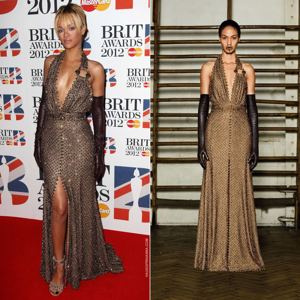 Rihanna at the 2012 Brit Awards wearing Givenchy Spring 2012 couture embellished dress, brown leather gloves and diamante shoes, Solange Azagury-Partridge stud earrings, Jacquie Aiche gold snake and cross body chains