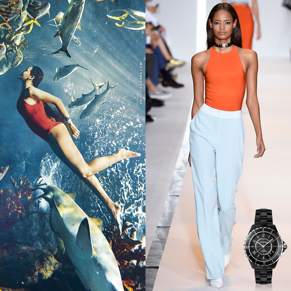 Rihanna wearing Mugler Spring 2015 orange swimsuit and Chanel J12 watch in Harper's Bazaar March 2015 magazine