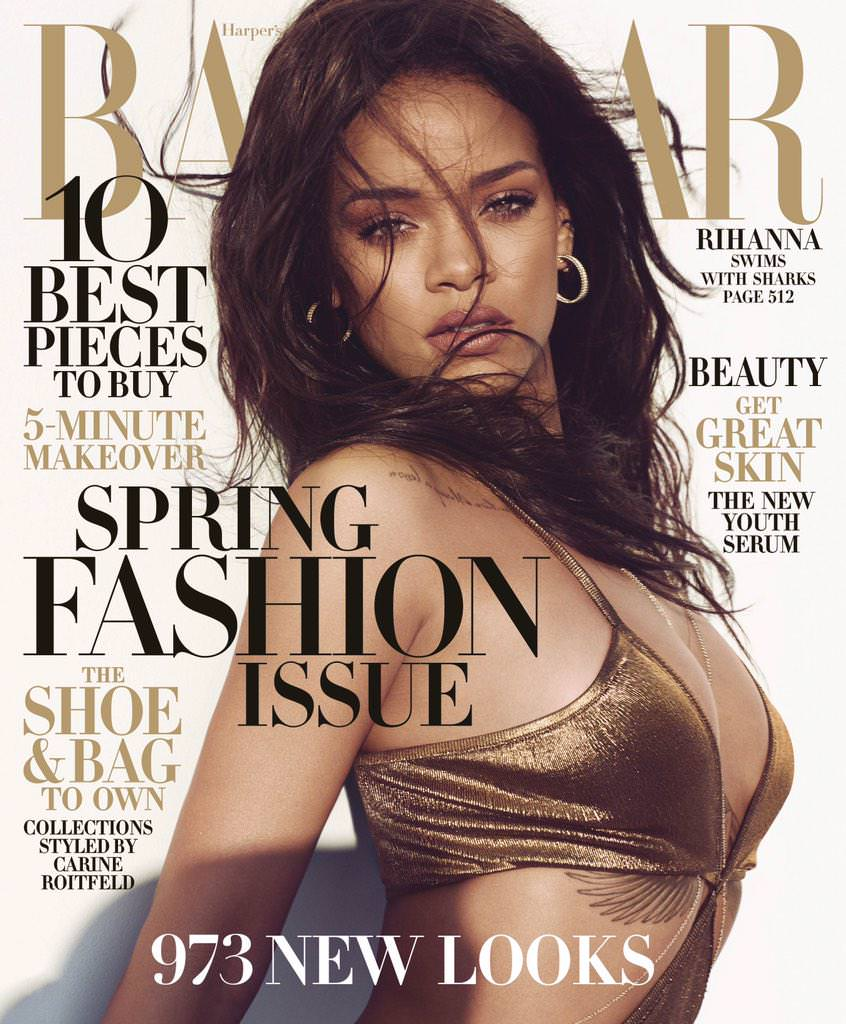 Rihanna in a gold Balmain jumpsuit on the Harper's Bazaar US March 2015 cover