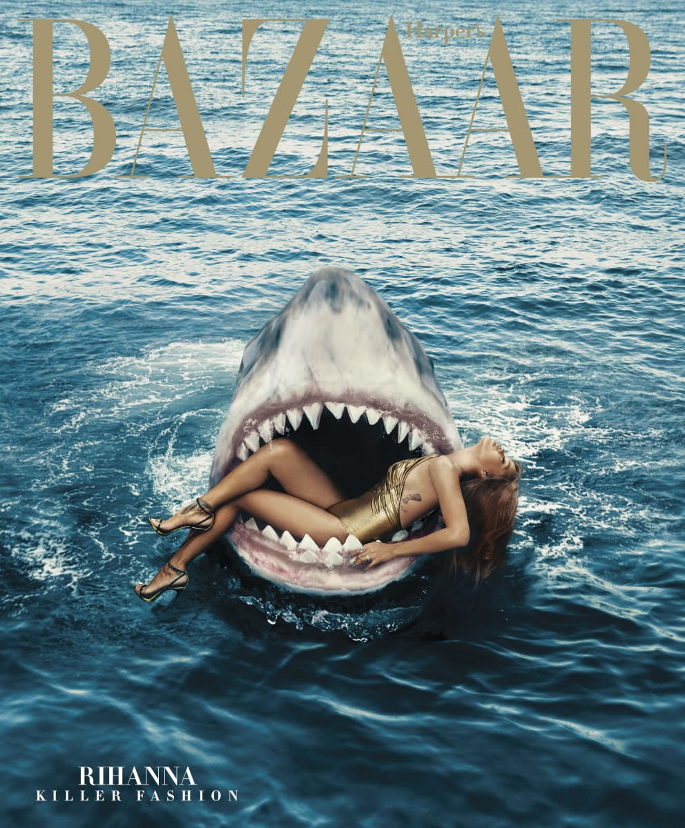 Rihanna wearing a gold Chanel swimsuit on the subscriber's cover of Harper's Bazaar March 2015