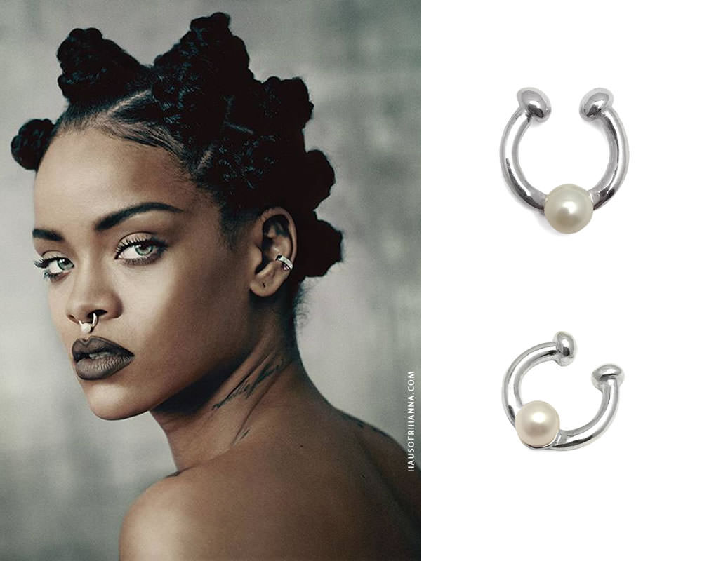 Rihanna in i-D magazine 2015 music issue wearing Chris Habana single pearl septum cuff