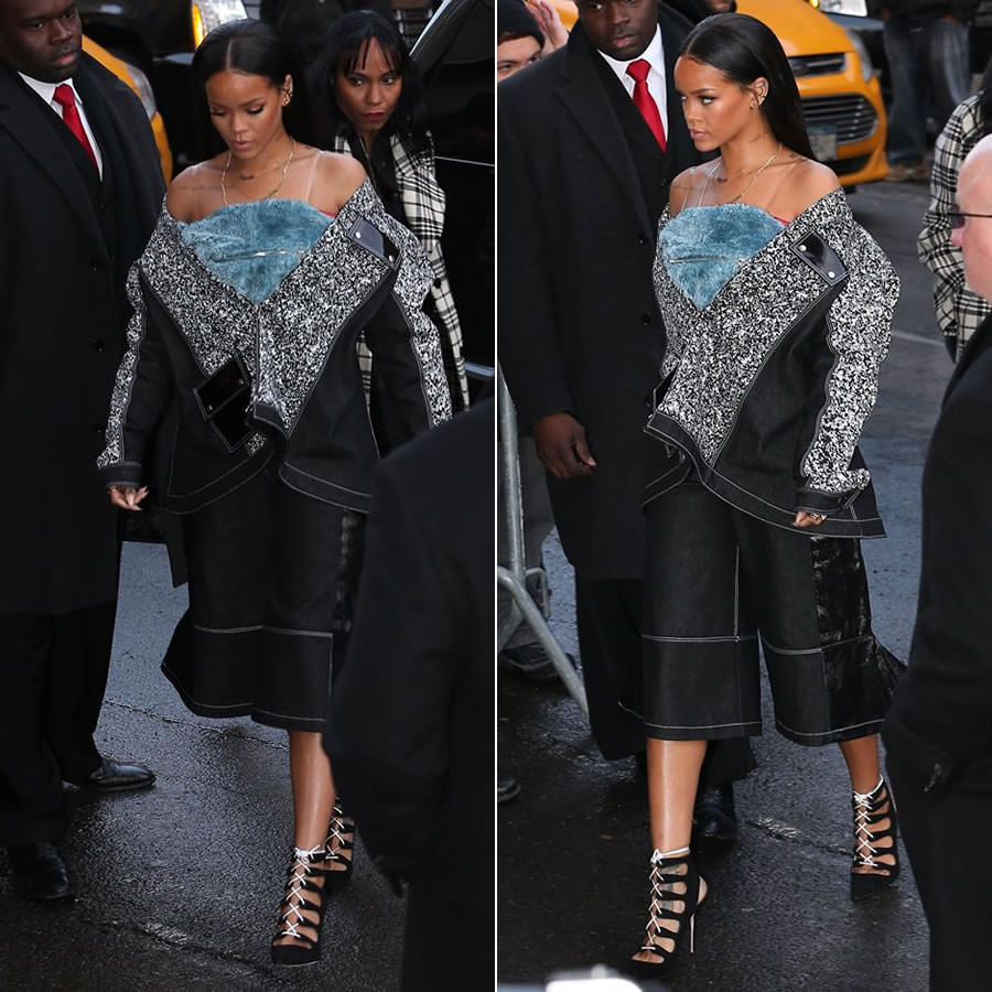 Rihanna at Kanye West x Adidas fashion show wearing Julia Seemann for VFILES  Fall 2015 look 9