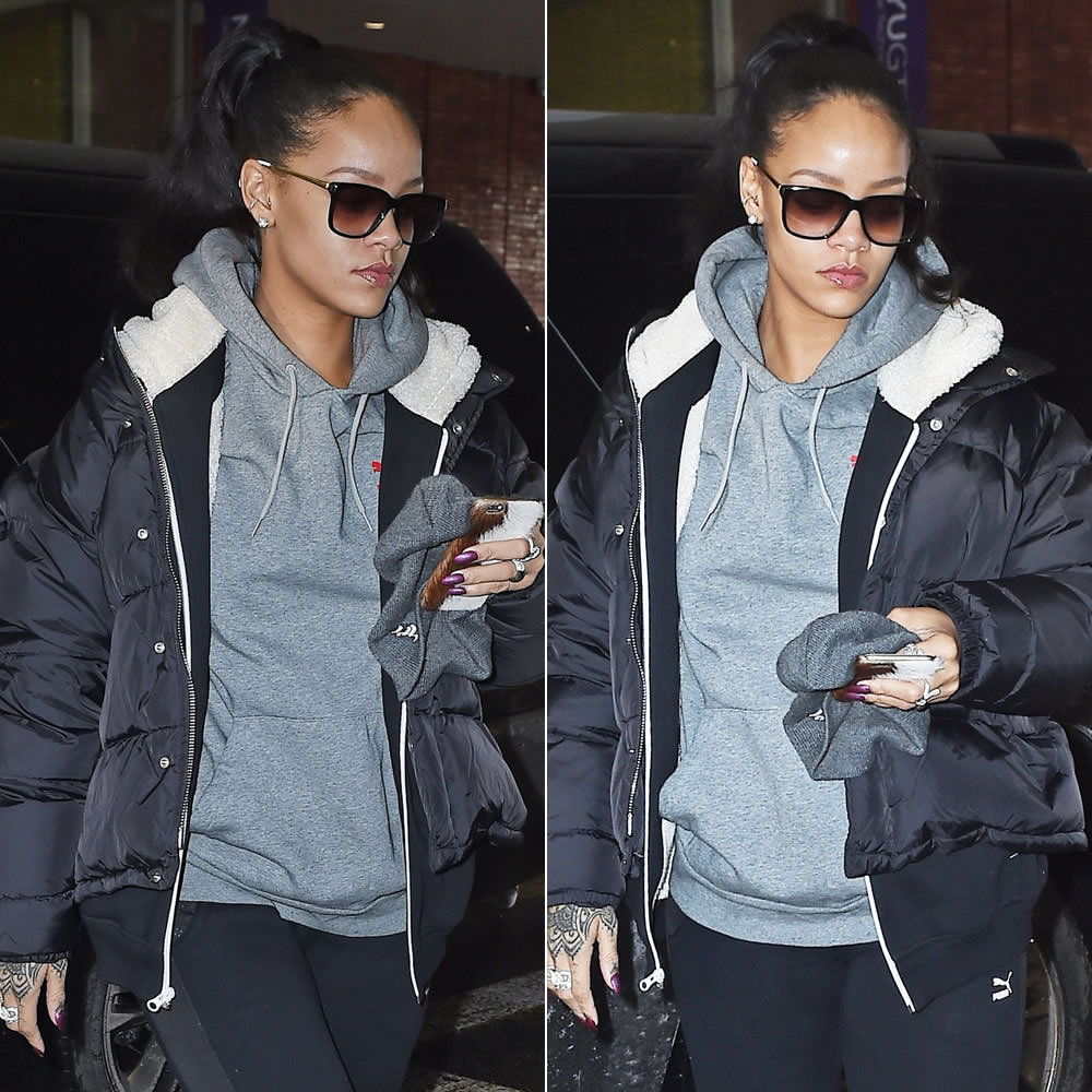 Rihanna wearing Sheriff and Cherry sunglasses, Maison Margiela padded jacket, Puma sherpa hoodie, Puma x ALIFE Arc pullover hoodie, Puma mesh panel pants, Ullu SnapOn iPhone case, Lynn Ban rings