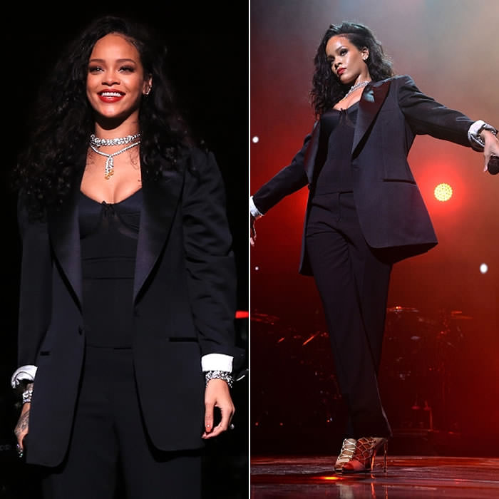 Rihanna performed in Tom Ford Fall 2015 menswear tuxedo and white lace-up sandals at the DirecTV Super Saturday Party in Arizona