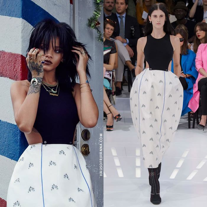 Rihanna in W Korea weaing Dior spring 2015 sleeveless top and floral skirt, Jacquie Aiche jewelry