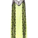 Christopher Kane neon yellow floral-print lace-panel dress as seen on Rihanna