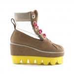 DEGEN brown Antibody boots with yellow platform and pink laces as seen on Rihanna