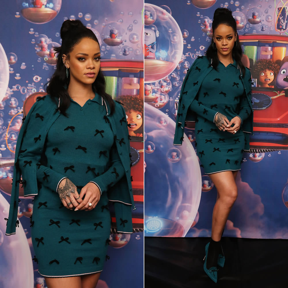 Rihanna wearing Adam Selman Fall 2015 green mini dress and cardigan with black bow embellishment, Manolo Blahnik for Adam Selman green suede pumps, Delfina Delettrez pearl and topaz ring, Yossi Harari Lilah tsavorite hoop earrings