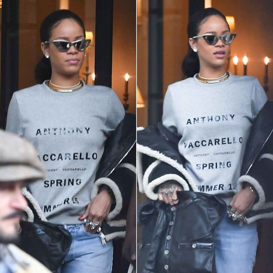 Rihanna wearing Adam Selman x Le Specs The Hunger silver cat eye sunglasses, Anthony Vaccarello printed grey sweatshirt, Dsquared2 Fall 2015 shearling trim jacket, Jennifer Fisher gold choker, Chanel black Girl handbag, Dylanlex rings