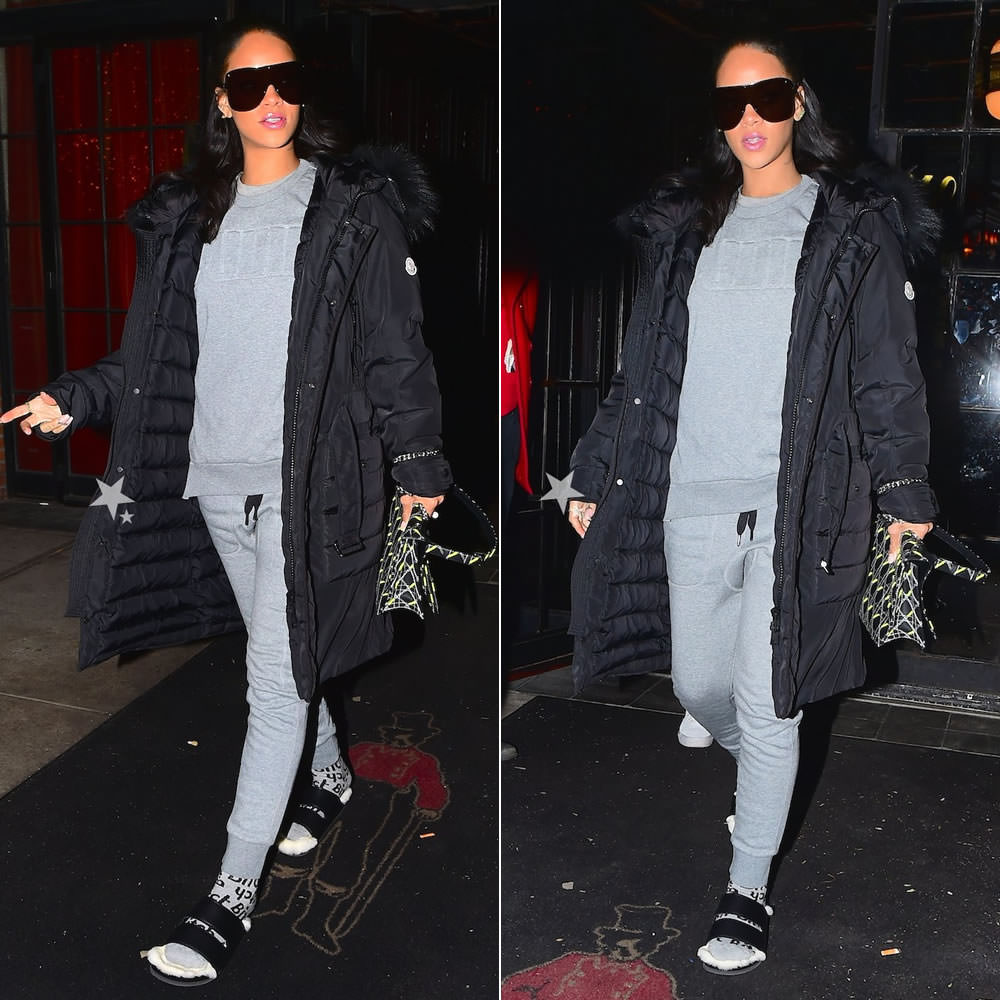 Rihanna wearing Givenchy shield sunglasses, Moncler puffer coat, Puma raised logo sweatshirt, Puma cargo sweatpants, Married to the Mob bitch print socks, Celine fur slides, Dior Diorama flap handbag, Delfina Deletrrez Trillion pearl and topaz ring