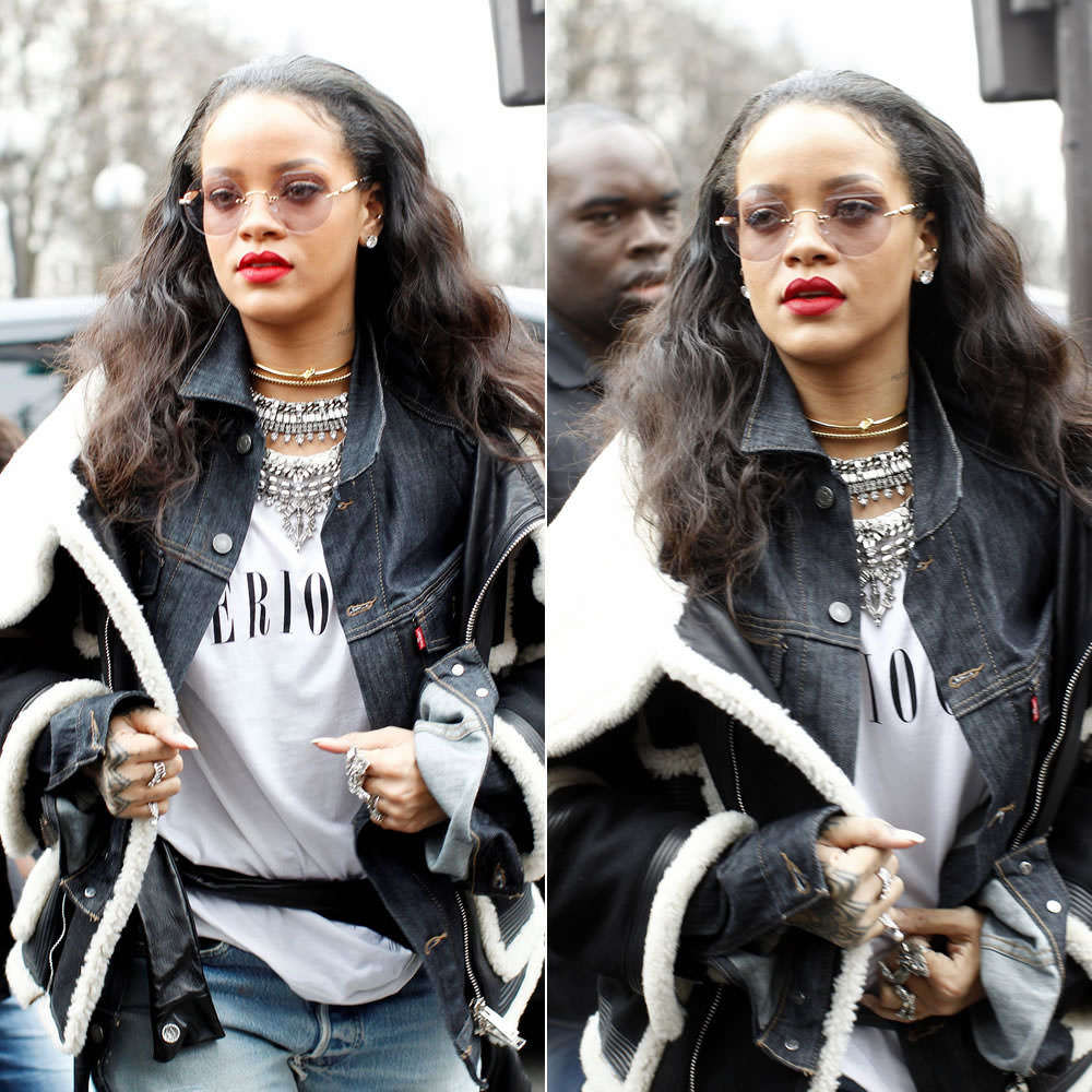 Rihanna wearing Jennifer Fisher knot choker, Dylanlex Falkor III necklace and silve rings, Levi's Commuter denim jacket, Brashy Couture white Seriously t-shirt