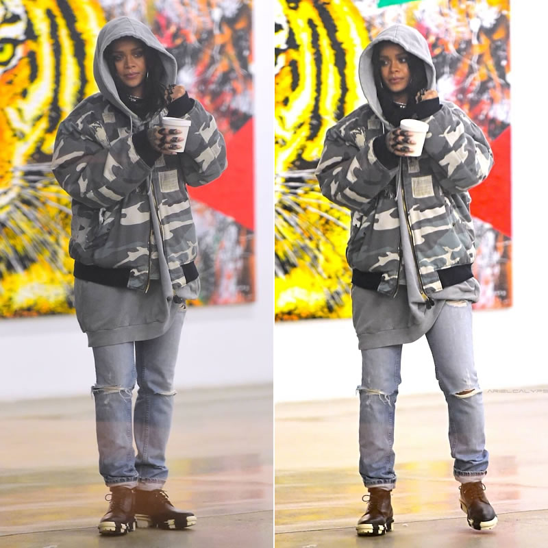 Rihanna wearing Raf Simons autumn/winter 2001 camo bomber jacket, Lynn Ban black rhodium and black diamond crest and chevron rings