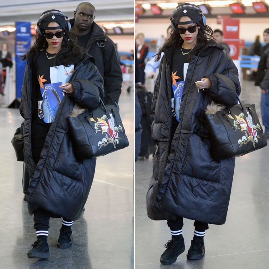 Rihanna wearing Skullcandy x Roc Nation Aviator headphones, Raf Simons photo collage roller coaster sweatshirt, Jessica Walsh puffer coat, Ralph Lauren Soft Ricky 40 embroidered satchel, Puma black suede creepers by Mr Completely
