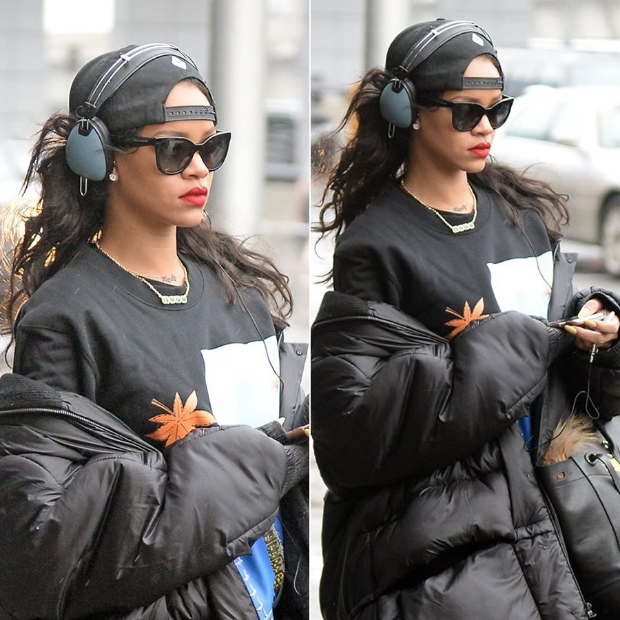 Rihanna wearing Skullcandy by Roc Nation Aviator headphones in Wrecked Metals, Majesty necklace by Thea, Jacquie Aiche emerald necklace