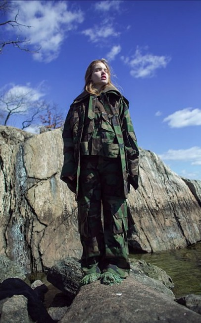Matthew Dolan Fall 2015 oversized camo jacket and pants as seen on Rihanna