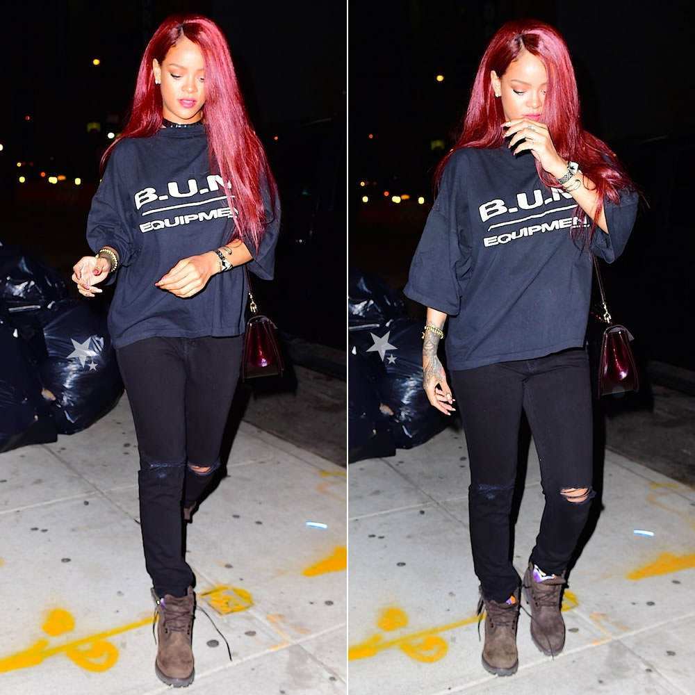 Rihanna wearing Bum Equipment t-shirt, J Brand ripped skinny jeans, Timberland dark chocolate boots, Louis Vuitton Mirada handbag