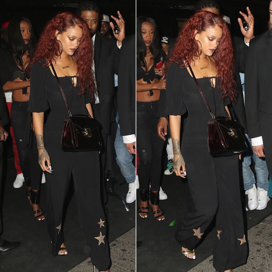Rihanna wearing Coco Fennell Graceland black jumpsuit with gold stars, Stuart Weitzman Myslide mule sandals, Louis Vuitton Mirada handbag, Mala by Patty Rodriguez ride or die necklace