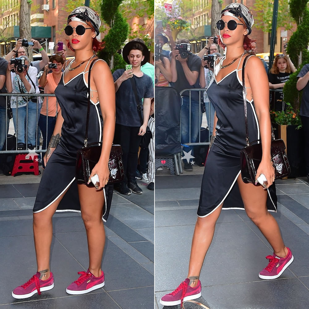 Rihanna wearing Adam Selman black slip dress, Puma suede classic zinfandel red sneakers, Louis Vuitton vernis mirada handbag, Le Specs Wild Child round sunglasses, Fallon herringbone necklace