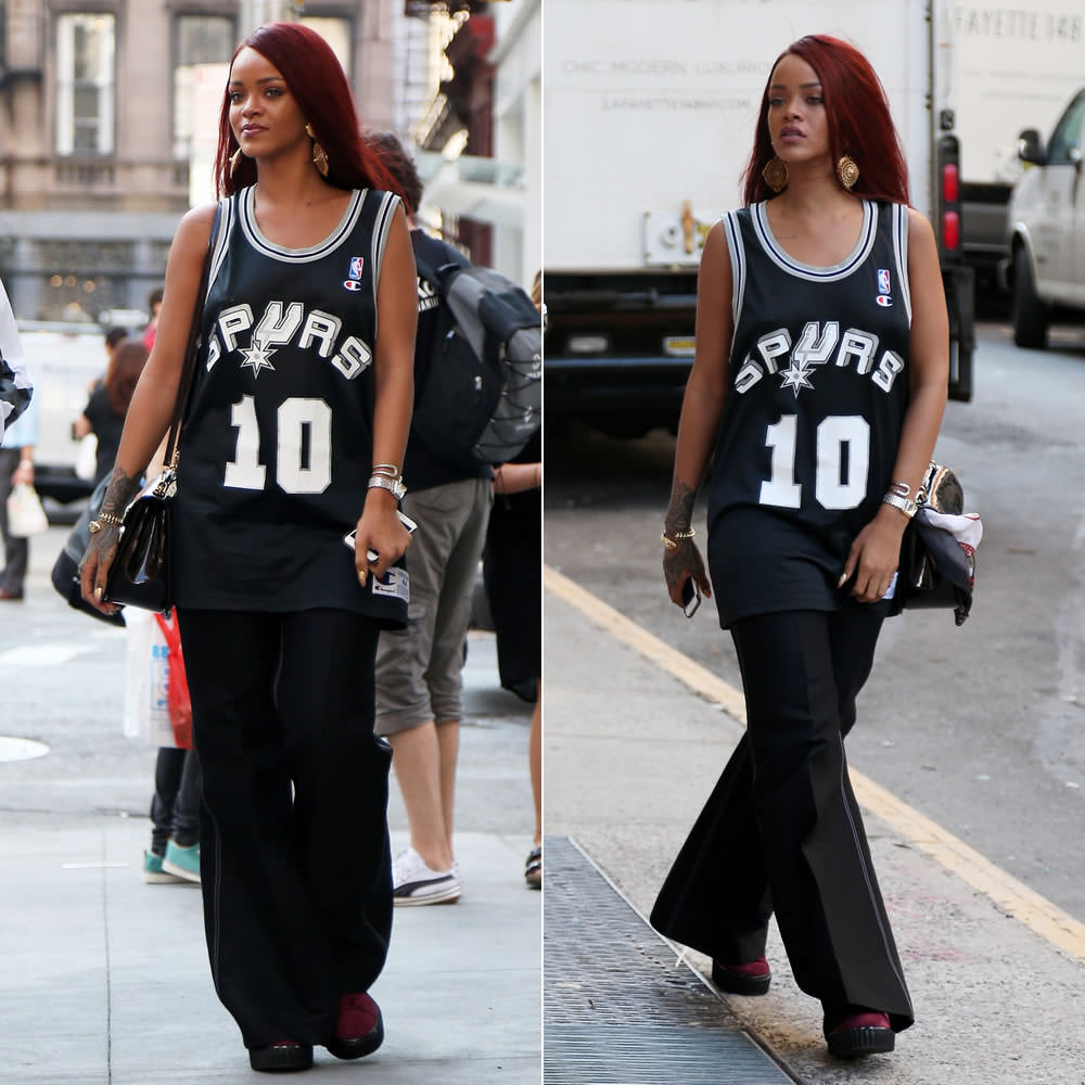 Rihanna wearing Champion vintage Spurs Dennis Rodman jersey, Celine Spring 2015 contrast stitch wide leg pants, Mr Completely Puma Suede Classic zinfandel creepers, Louis Vuitton Mirada handbag, Unearthen crystal watch