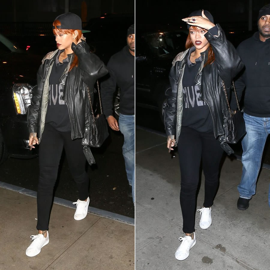 Rihanna wearing cockpit usa vintage leather jacket, Citizens of Humanity Avedon Slick skinny jeans, Puma Basket Classic white sneakers, Cav Empt collared sweatshirt