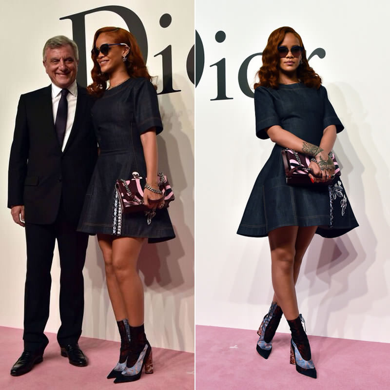 Rihanna at Dior Tokyo Fall 2015 fashion show wearing Dior mirroed sunglasses, Resort 2016 boots and Fall 2015 Diorama handbag