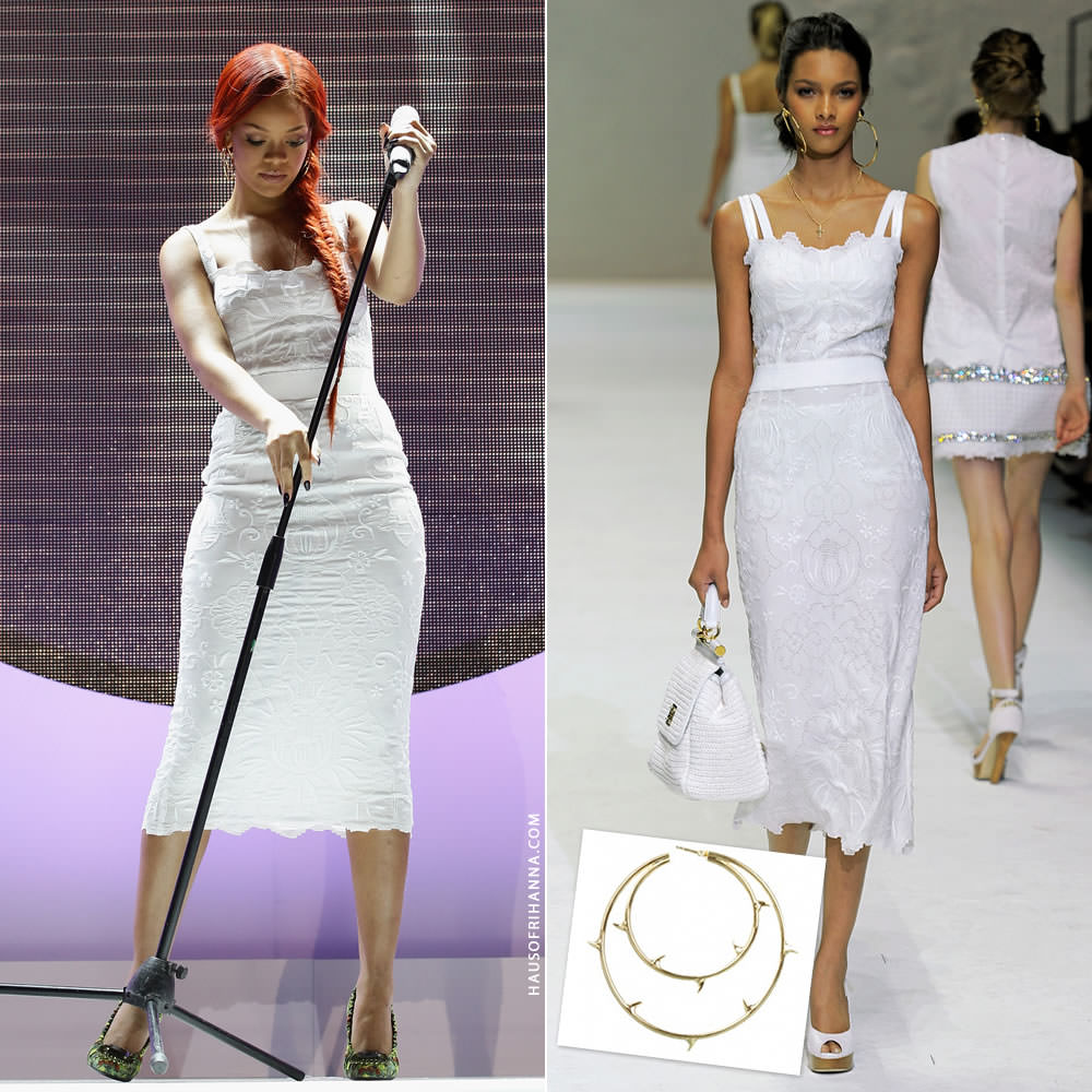 Rihanna wearing Dolce and Gabbana Spring 2011 white eyelet dress and Agent Provocateur gold thorn spiked hoop earrings during Nivea 100 Years of Skincare event in Paris, France