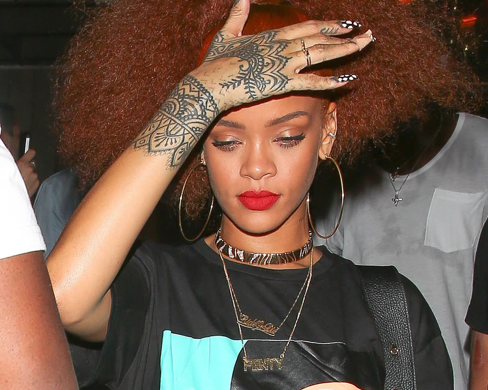 Rihanna wearing Mala by Patty Rodriguez ride or die necklace, Jacquie Aiche bunny ring