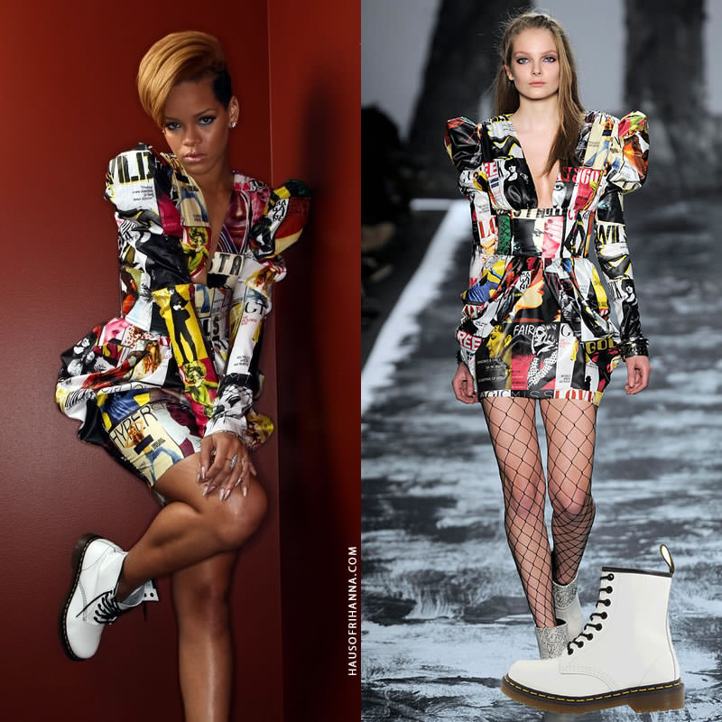 Rihanna Fred R Conrad photoshoot Miss Sixty Fall 2009 dress, Dr Marten 1460 white combat boots