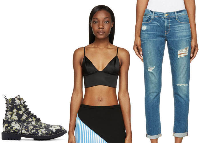 Ssense Givenchy floral boots, T by Alexander Wang triangle bralette, Frame le garcon distressed jeans