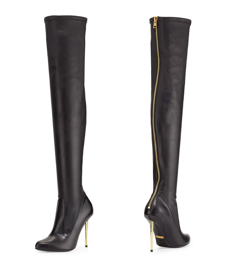 4efcde4262127 Rihanna In Tom Ford Over The Knee Metal Stiletto Boots
