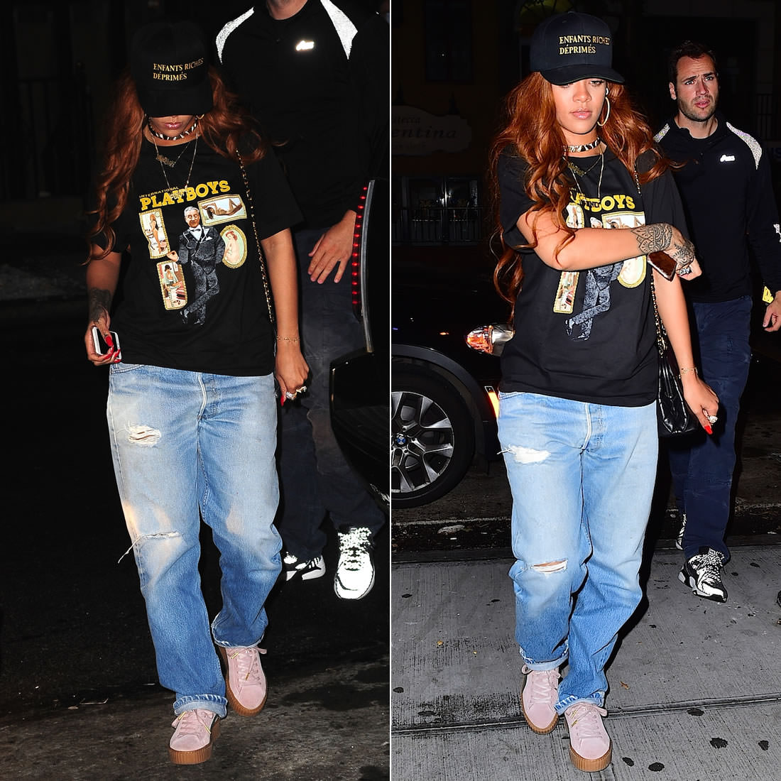 Rihanna Enfants Riches Deprimes snapback hat, Eli Reed international playboy t-shirt, Levi's distressed jeans, Puma x Mr Completely pink creeper shoes