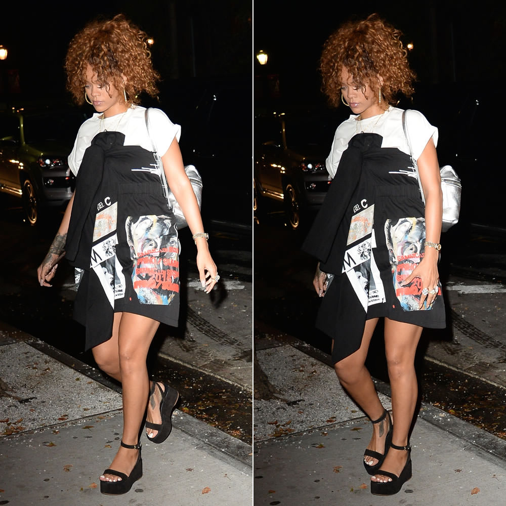 Rihanna wearing Sam MC London Spring 2016 black graphic print dress, Chanel Spring 2015 suede platform sandals, Kara silver leather backpack