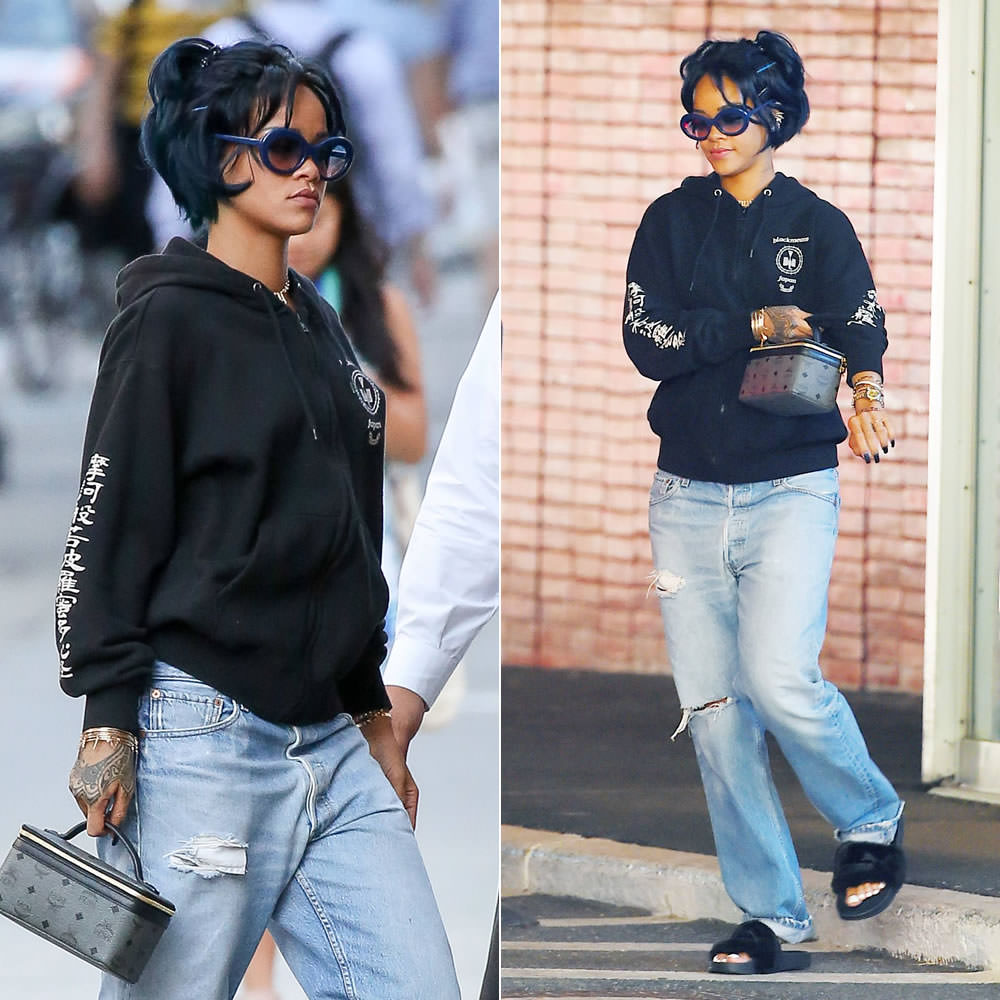 Rihanna wearing Blackmeans dragon motif hoodie, Puma fur slides, MCM train case