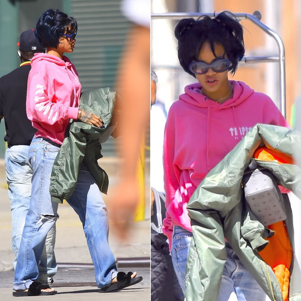 Rihanna wearing Trapstar pink Decoded hoodie, Vetements Fall 2015 oversized bomber jacket, Puma fur-trim slides