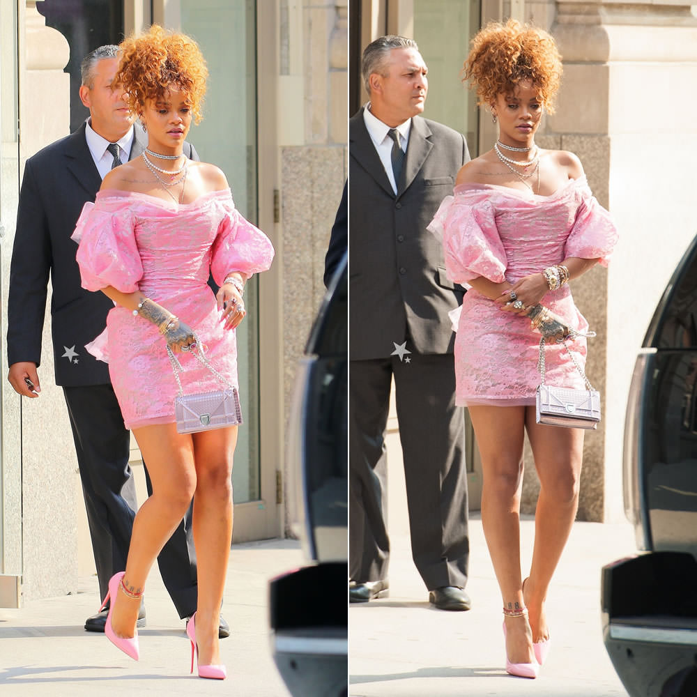 Rihanna wearing Vivienne West Red Label Fall 2015 pink lace dress, Christian Louboutin pink So Kate pumps, Christian Dior Diorama metallic handbag
